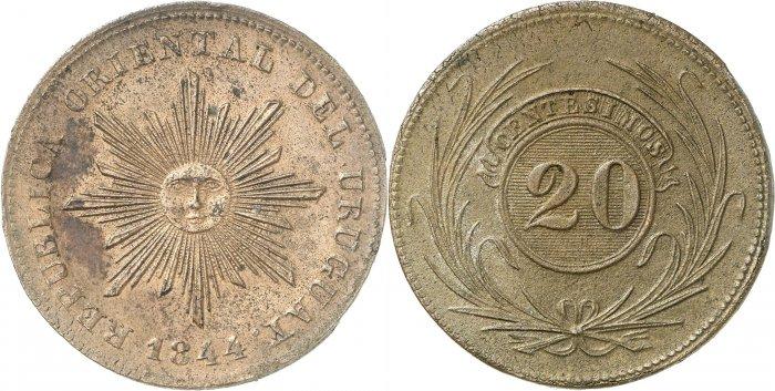 """20 céntimos o """"vintén"""" de cobre, 1844"""