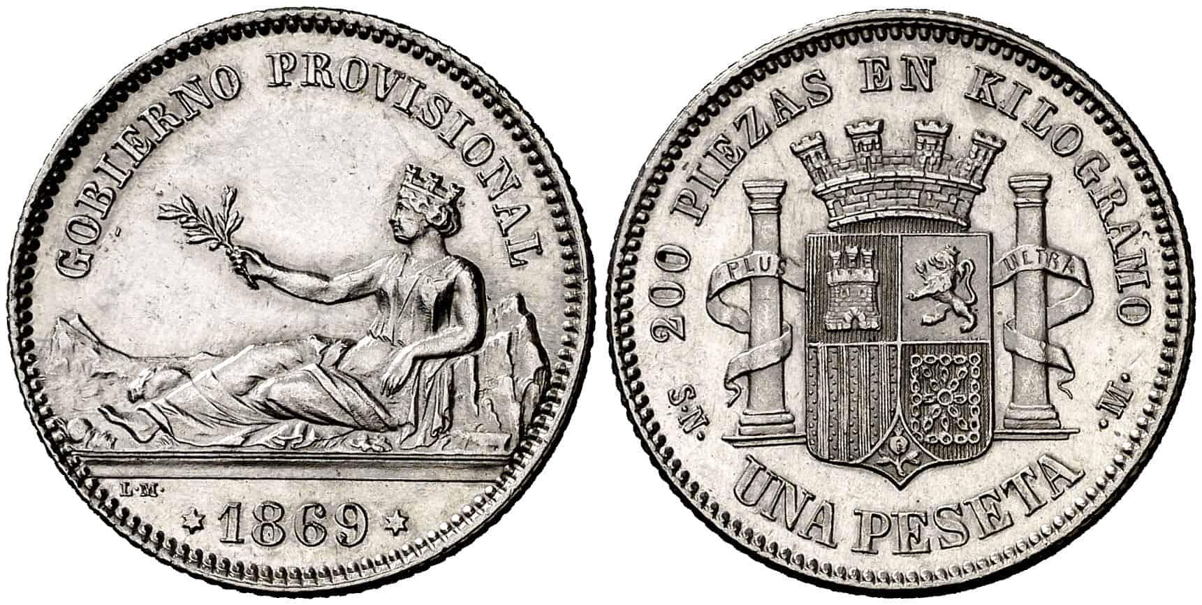 1 peseta 1869