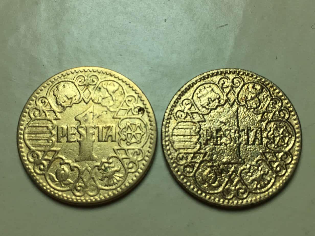 Moneda limpiada con arena