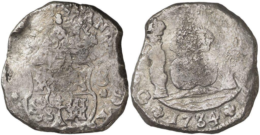 8 reales de Guatemala acuñada con martillo