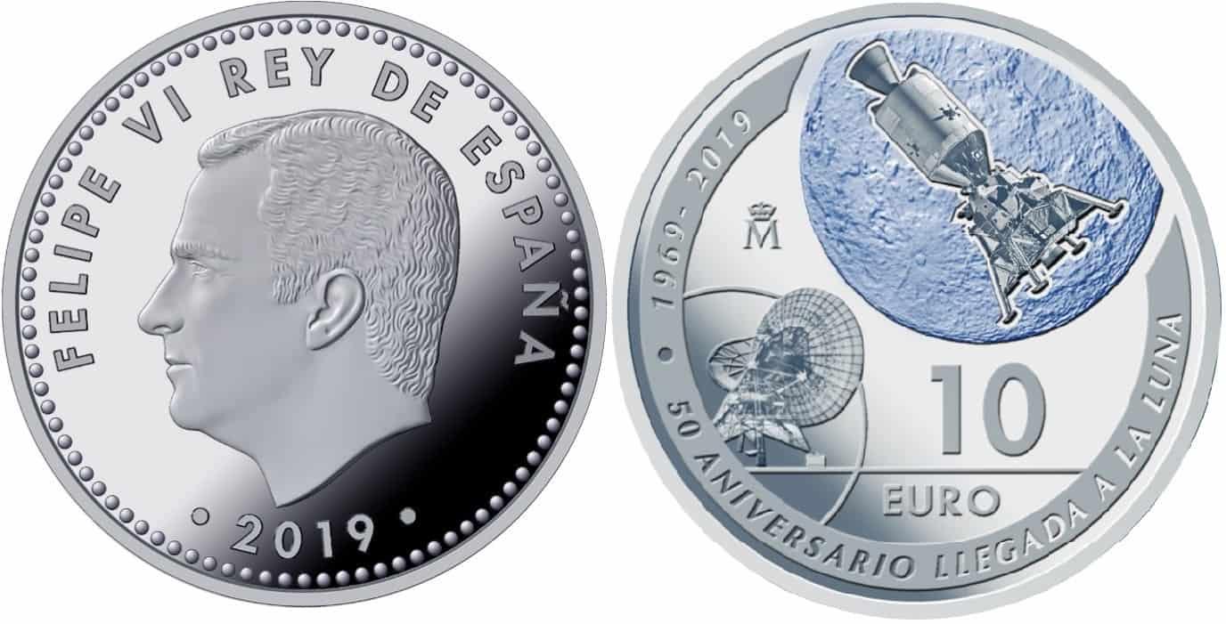 10 euros 50 aniversario llegada a la luna