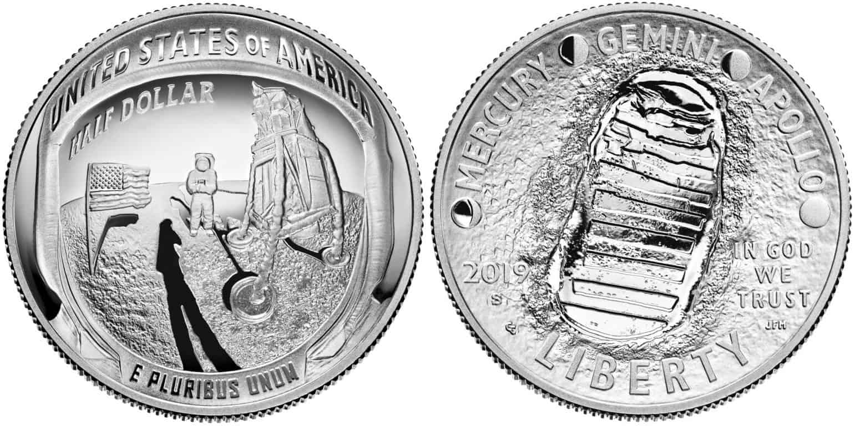 medio dolar llegada del hombre a la luna
