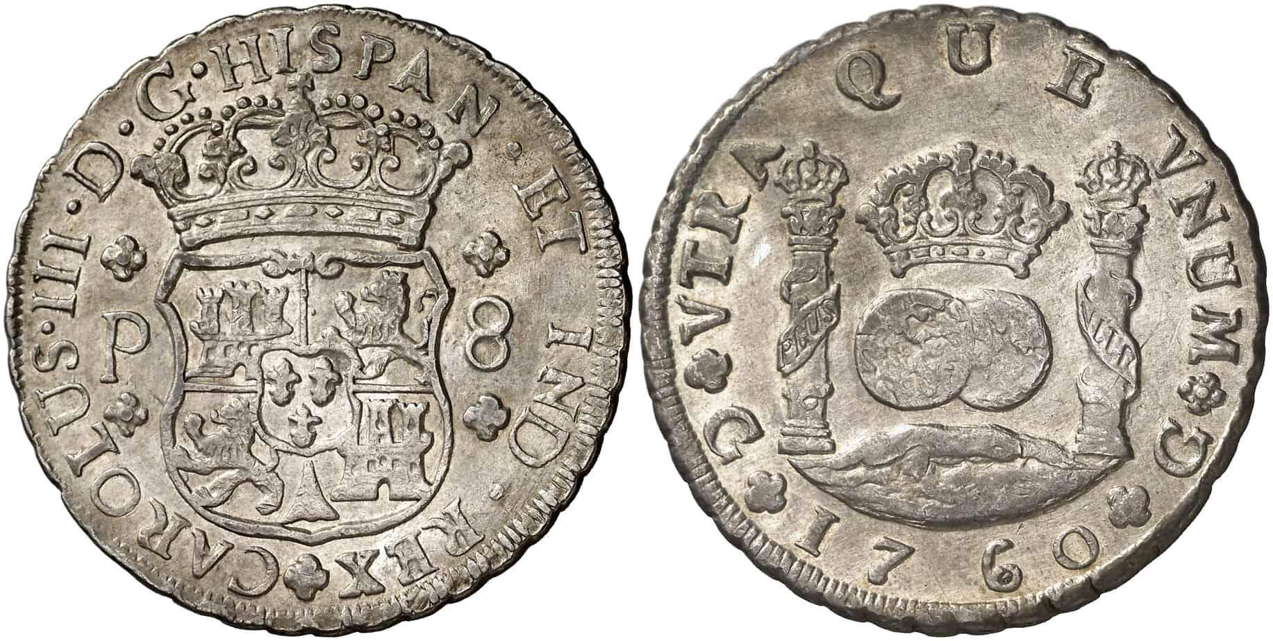 columnario acuñado a volante entre el periodo 1754 y 1771, 8 reales Guatemala