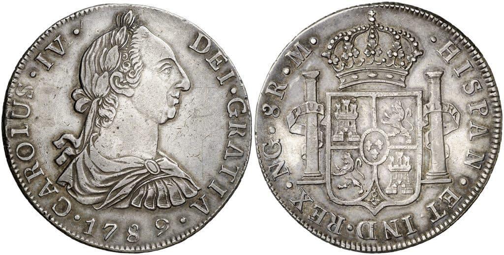 """8 reales de Guatemala, con el busto de Carlos III pero indicando """"CARLOUS IV"""""""