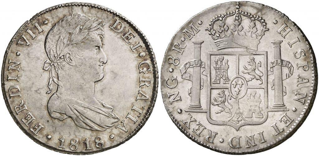 8 reales de Guatemala, busto de Fernando VII