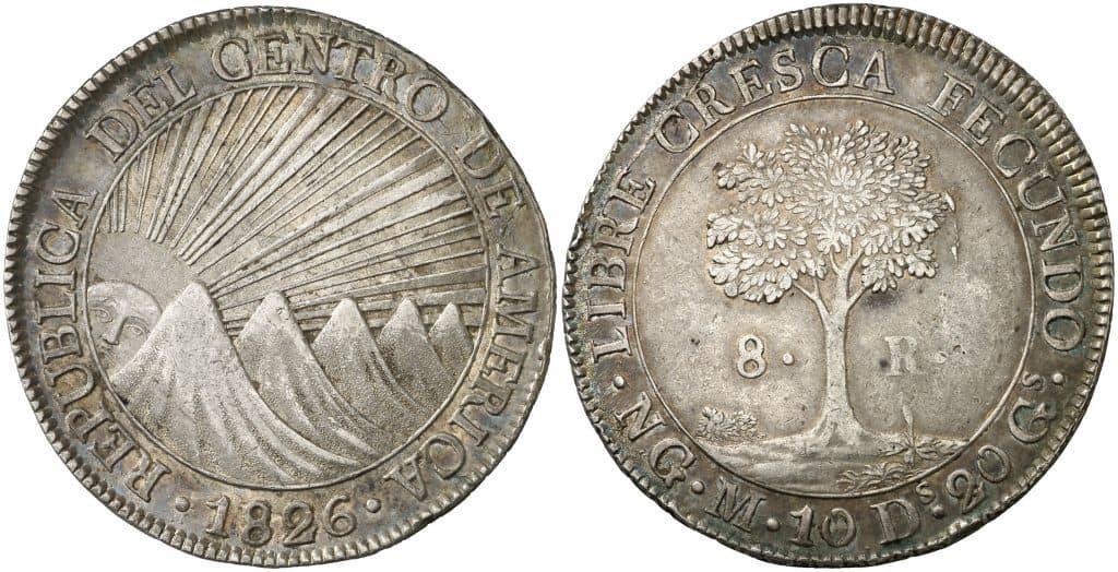 8 reales a nombre de la República Federal del Centro América