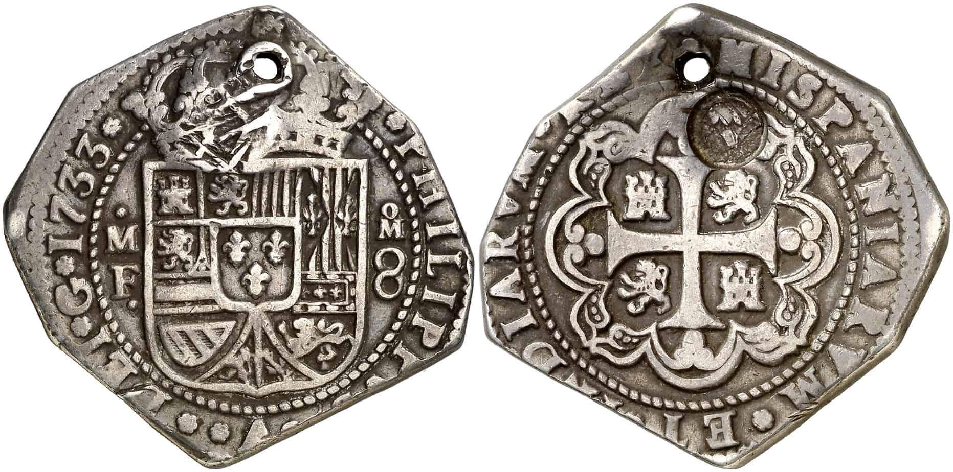 """8 reales mexicano """"tipo clíper"""" resellado en Guatemala en 1839"""