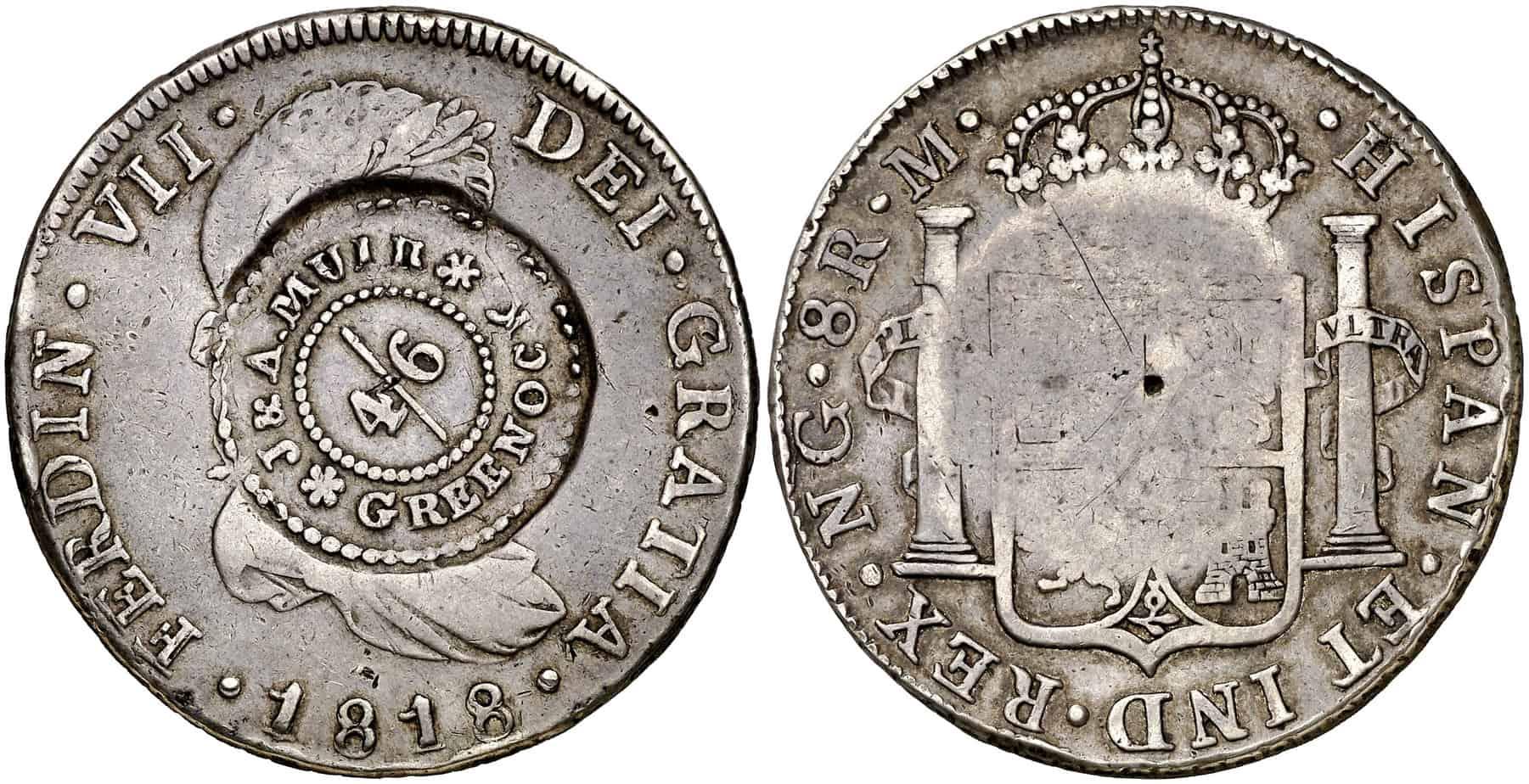 8 reales Guatemala, 1818 con un resello de la empresa inglesa James y Andrew Muir