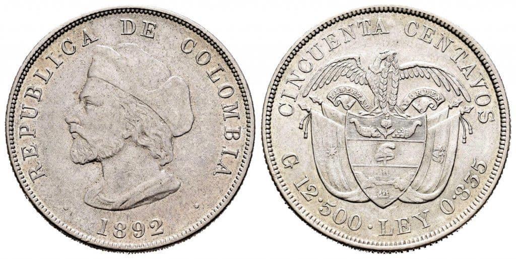 50 centavos 1892 Colombia