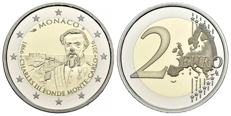Mónaco. 2 euros. 2016. 150º Aniversario de la Fundación de Montecarlo por Carlos III
