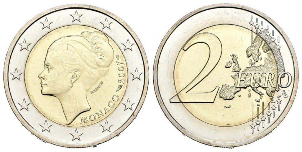 Mónaco. 2 euros. 2007. 25º Aniversario de la muerte de la Princesa Grace Kelly