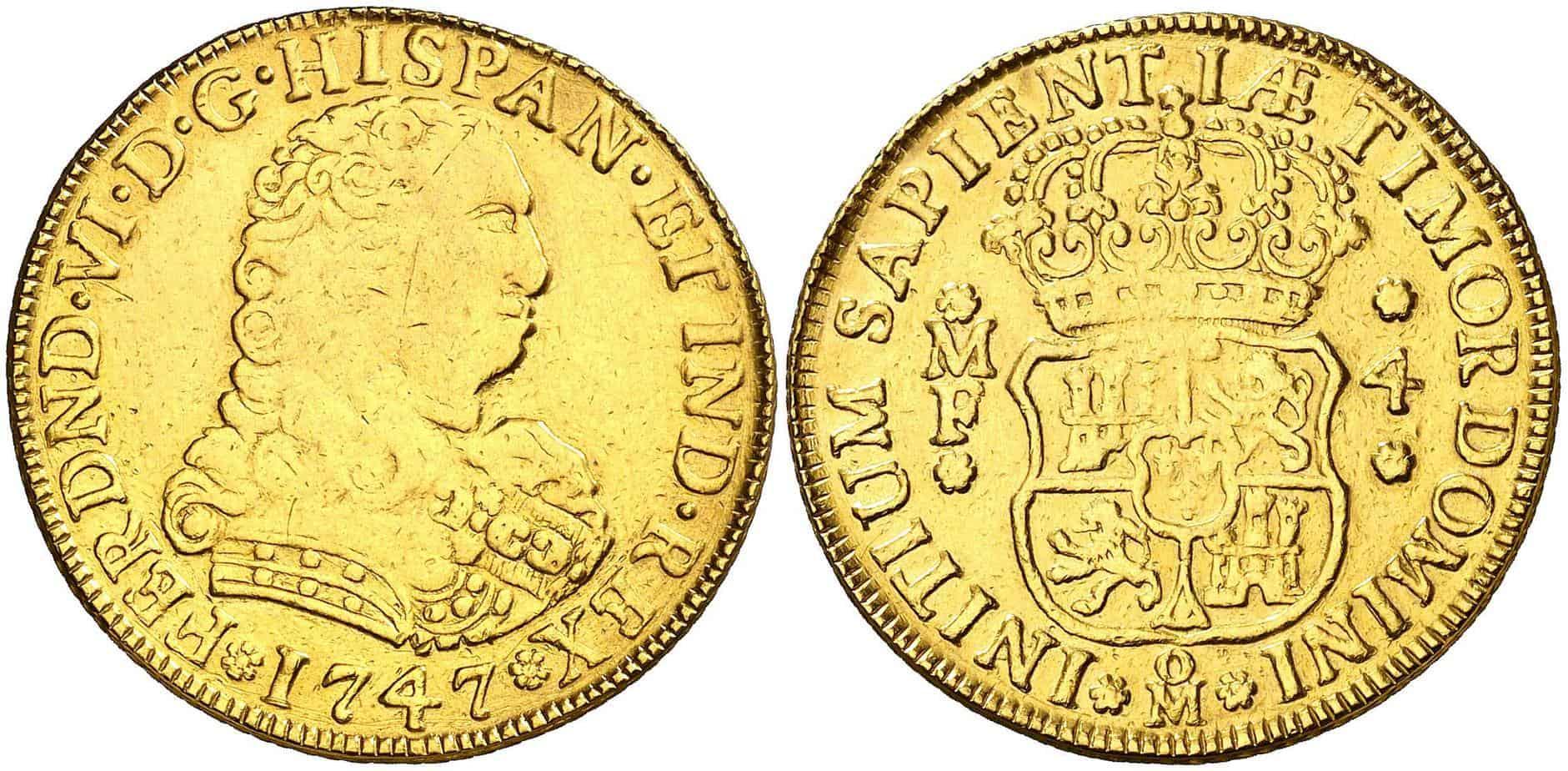 4 escudos 1747 Cara de Perro
