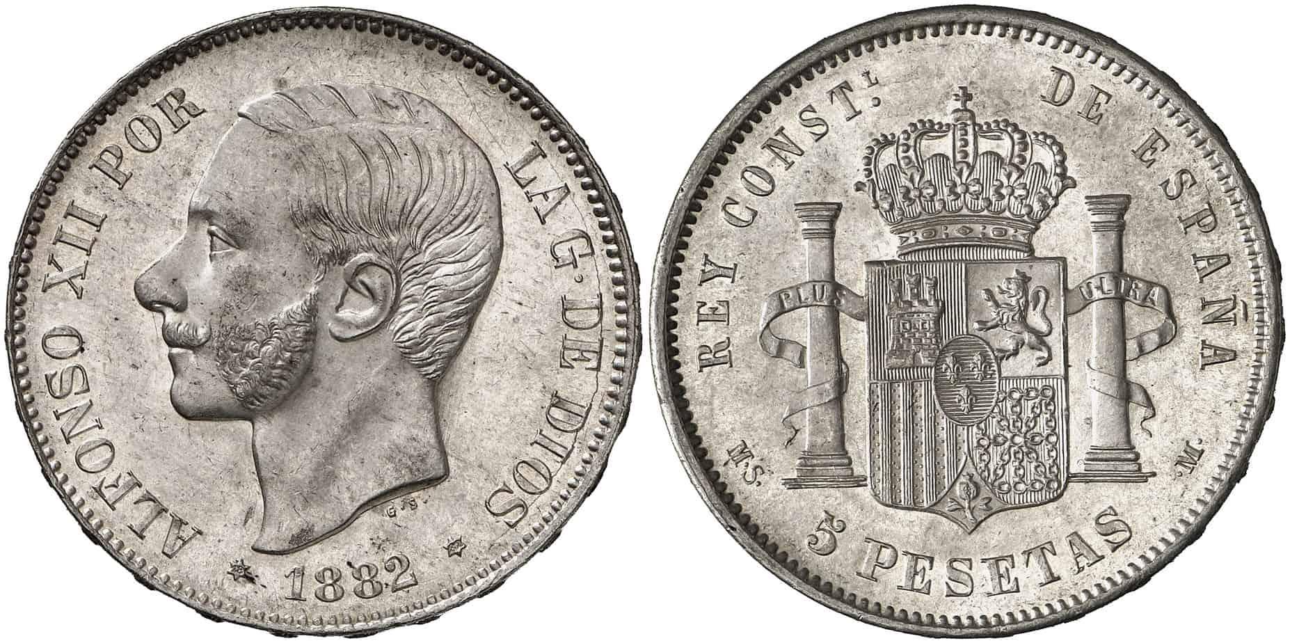 5 pesetas 1882