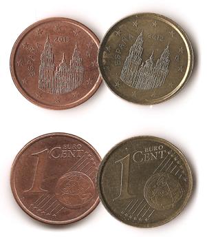 1 céntimo de euro acuñado en cospel de 5 pesos de Chile