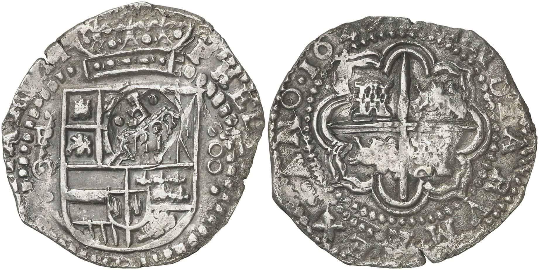 8 reales 1650 Potosí con contramarca para circular como 7 reales y medio