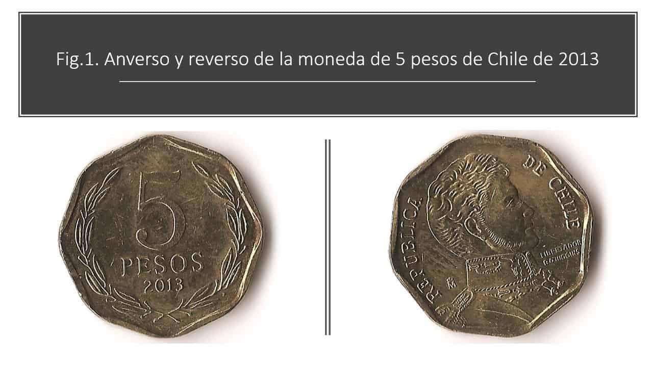 Fig.1. Anverso y reverso de la moneda de 5 pesos de Chile de 2013