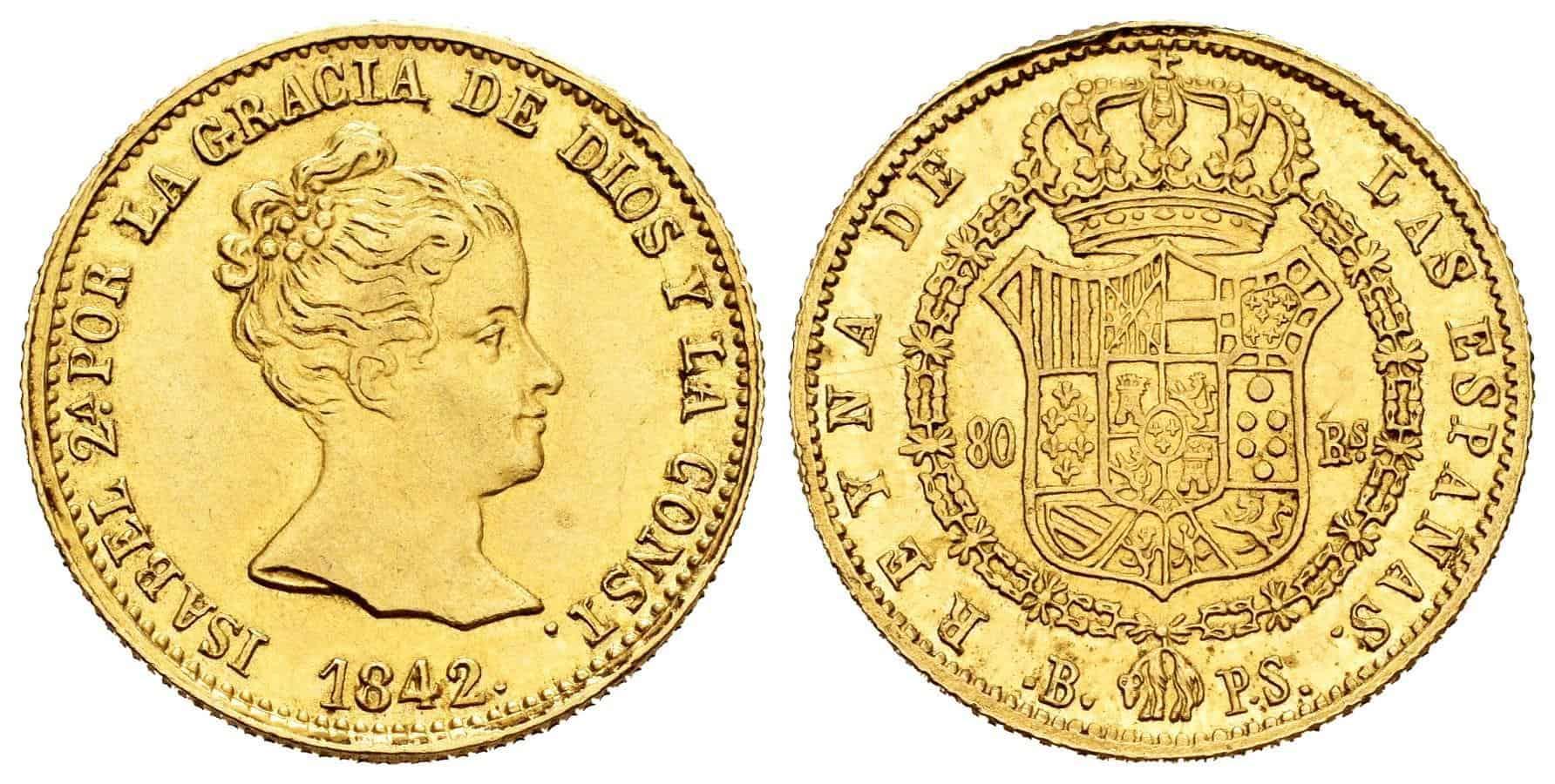 80 reales 1842, Barcelona P.S.