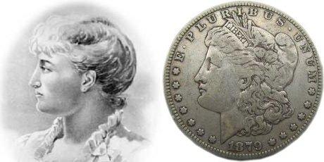 Williams y anverso de un dólar Morgan - Retrato de Anna Willes