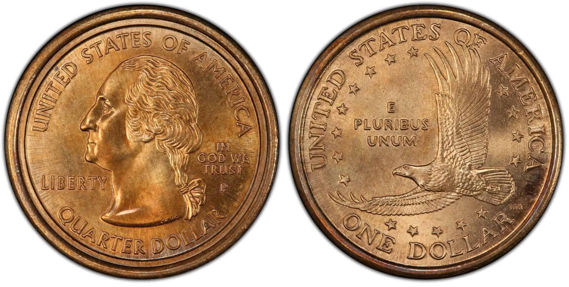 "1 dólar 2000 ""mule"", 25 centavos"