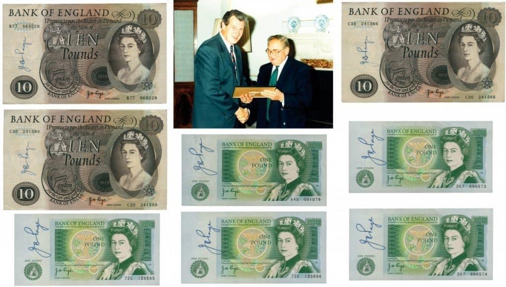 Conjunto de 8 billetes ingleses