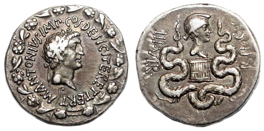 MARCUS ANTONIUS and OCTAVIA AR Cistophoric Tetradrachm