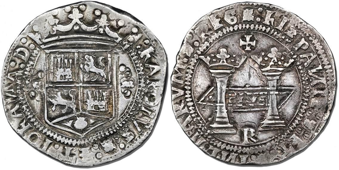 8 reales Carlos y Juana, México. Ensayador Francisco del Rincón