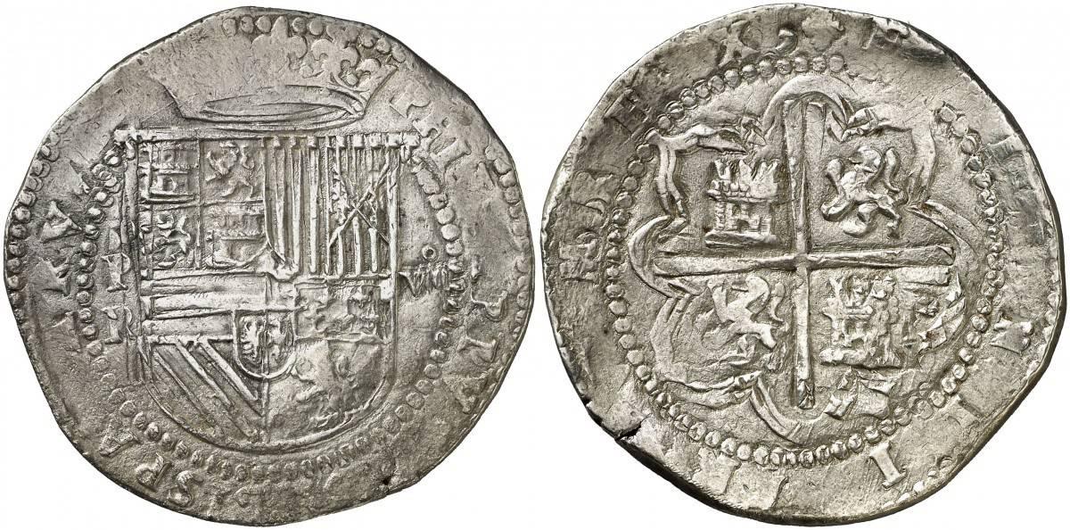 8 reales Felipe II, Potosí. Ensayador Alonso del Rincón