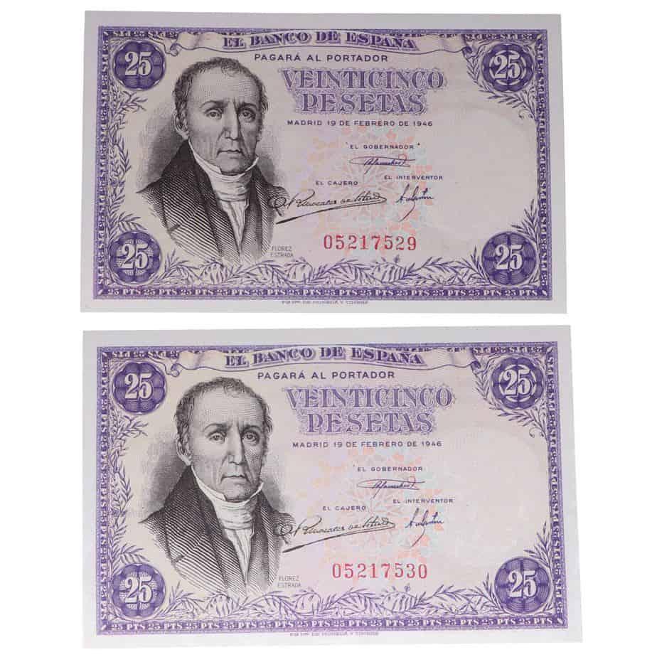 Pareja de 25 pesetas 1946, Flórez Estrada