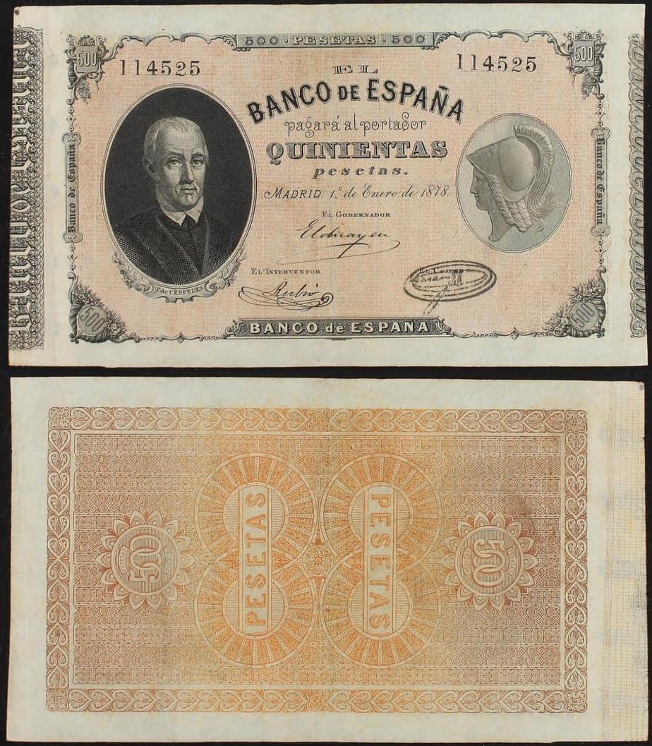 500 pesetas 1878