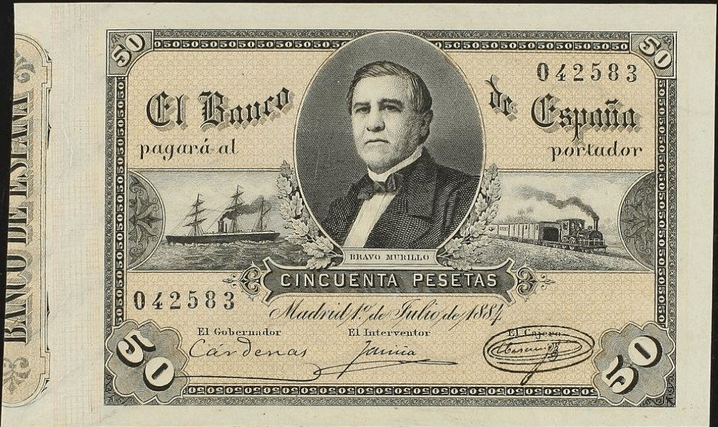50 pesetas julio de 1884, Bravo Murillo