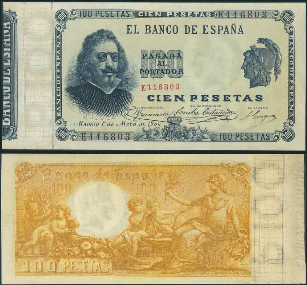 100 pesetas 1900