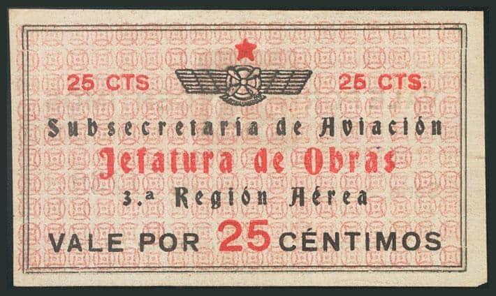 25 céntimos Billetes Militares