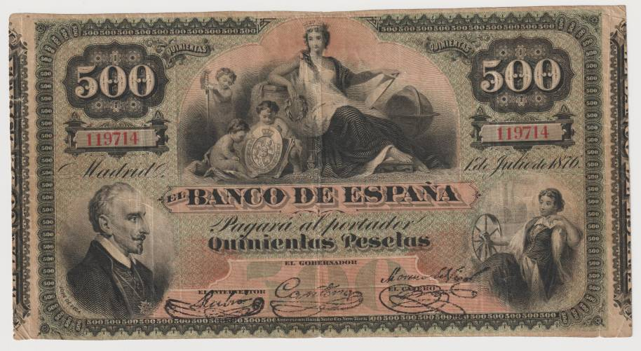 500 pesetas 1876 Lope De Vega