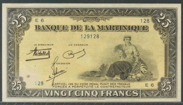 Martinica, 25 francos de 1945