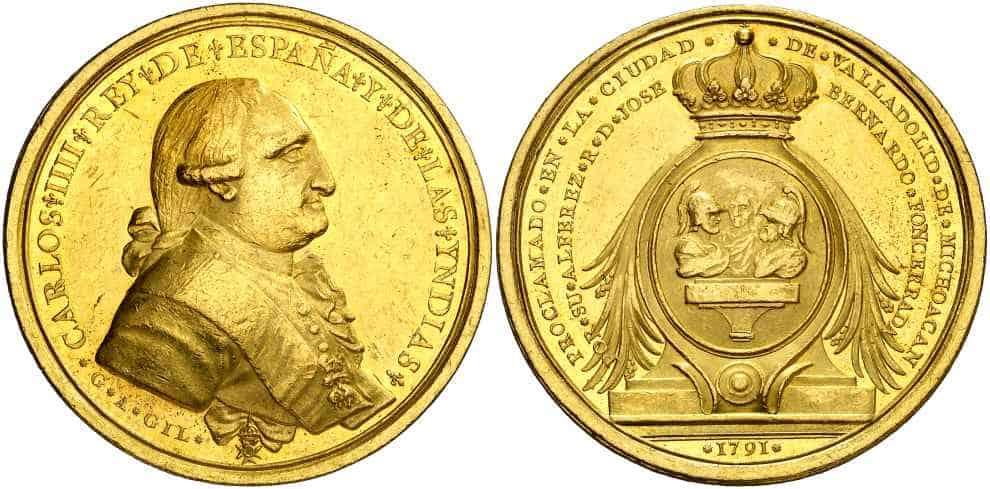 Medalla Carlos IV Valladolid Mexico