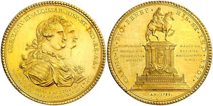 Medalla Carlos IV Mexico Estatua