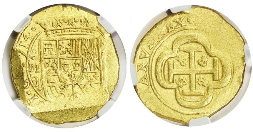8 escudos 1714 anverso galano.