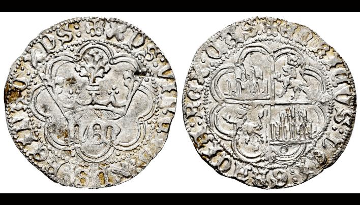 Enrique IV. 1 real de La Coruña. Una sola venera en reverso.