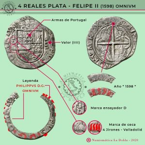 Felipe II 4 reales Valladolid tipo Omnium