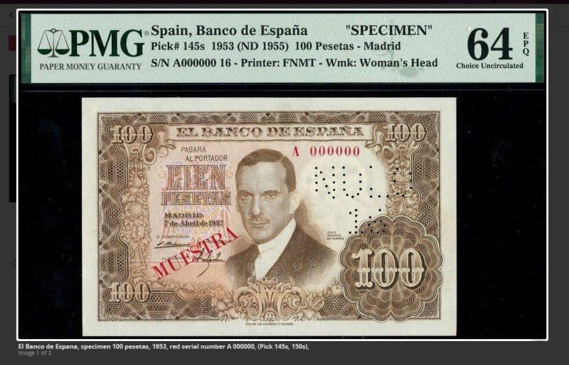 100 pesetas 1953