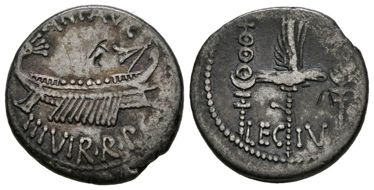 Denario Marco Antonio Legion IV