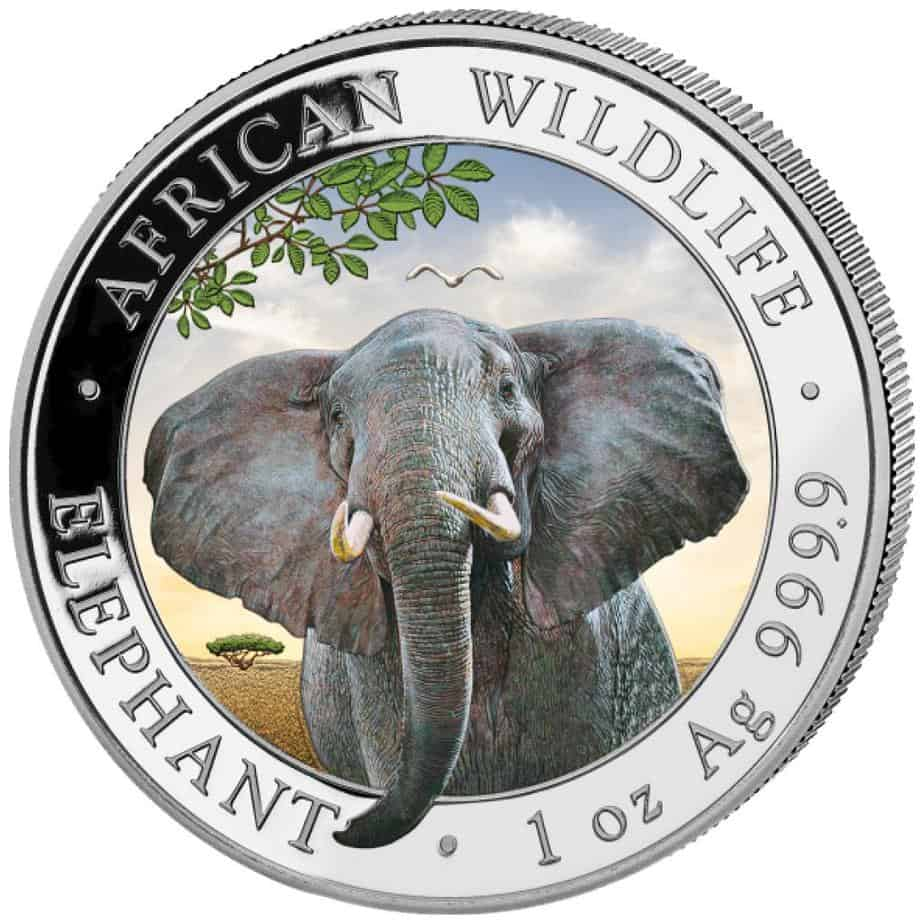 Somalia 1 onza elefante color dia