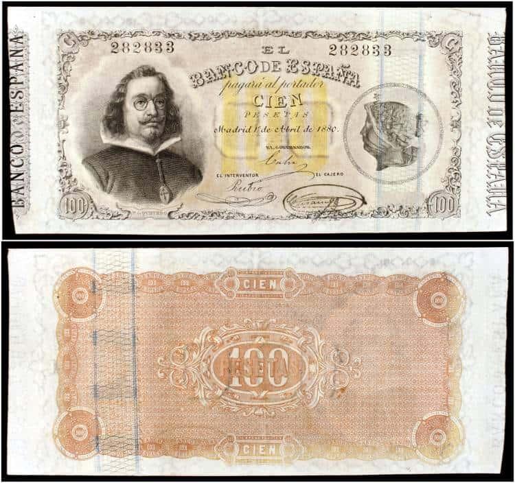 100 pesetas 1880 Quevedo