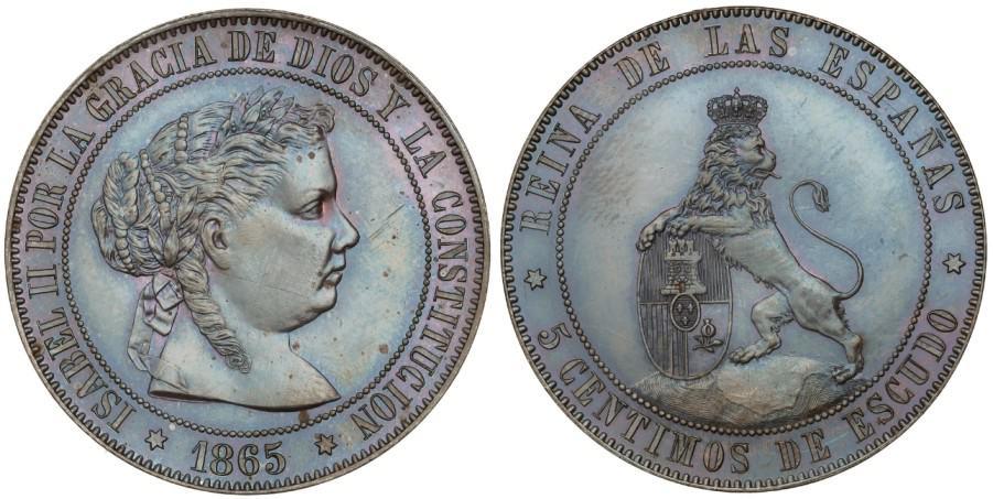 Prueba de 5 céntimos de escudo 1865