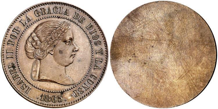 5 céntimos de escudo 1865, prueba unifaz