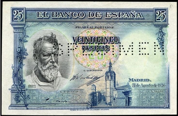 SPECIMEN 25 pesetas 1936