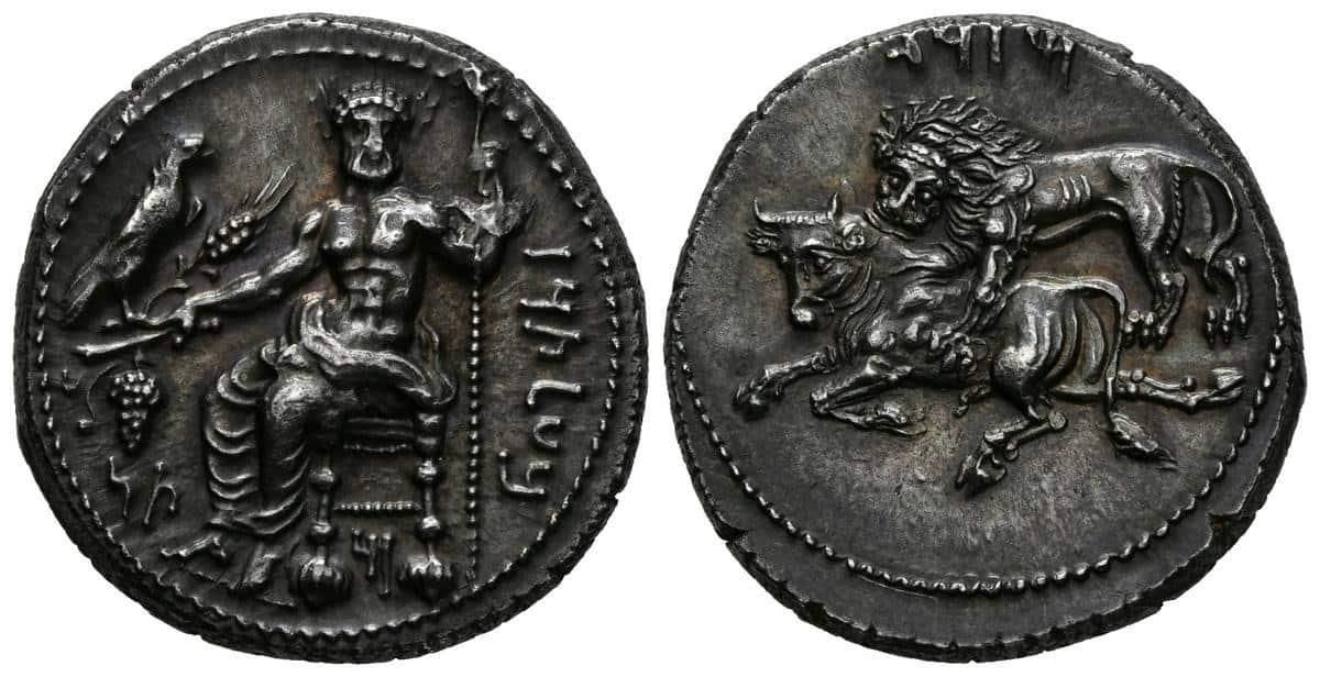 Mazaios, estátera acuñada en Tarso (Cilicia)