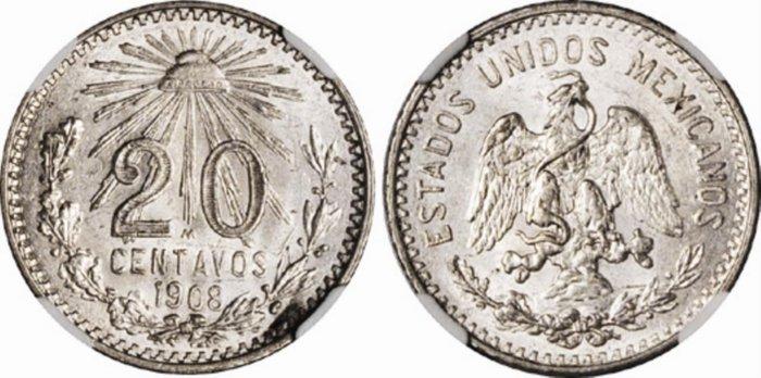 México, 20 centavos 1908