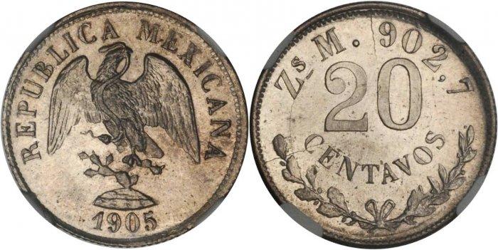 20 centavos 1905 Zacatecas