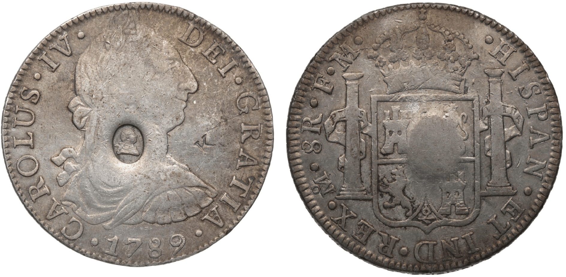 8 reales México 1789, resello de Jorge III